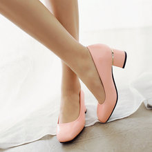 Size 34-43 PU Patent leather Ladies Spring Shoes Woman Pump Round Toe Square Med Heel White Platform Ladies Wedding Shoe
