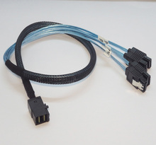 Free Shipping High Speed Mini SAS HD SFF-8643 to 4x SATA 3.0 Cable 50cm Comply with SAS3.0 12G