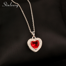 SINLEERY Luxury Red/Blue/White/Black Crystal Love Heart Pendant Necklace for Women Girl Valentine's Day Gift XL158 SSD(China)