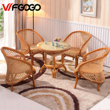 WFGOGO Furniture Rattan Garden Sets Chairs+Tables Indoor-Outdoor Restaurant Stack Coffee Tables Sets Weather Outdoor Sets