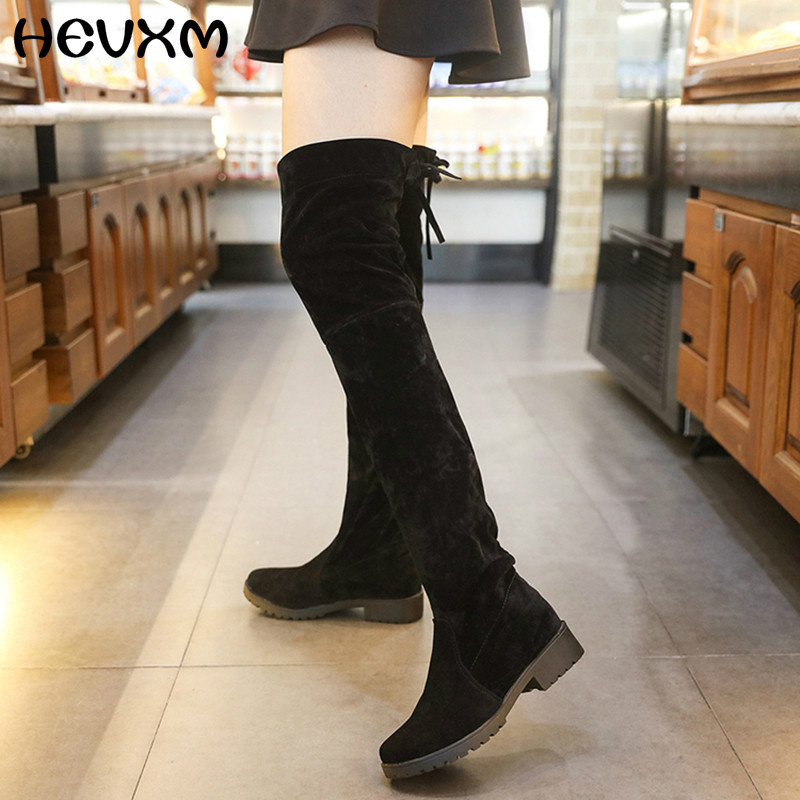Tenis Feminino Suede Slim Thigh High Boots Woman Fashion Over The Knee Boots Women Sexy Shoes High Heels Autumn Ladies Boots<br><br>Aliexpress