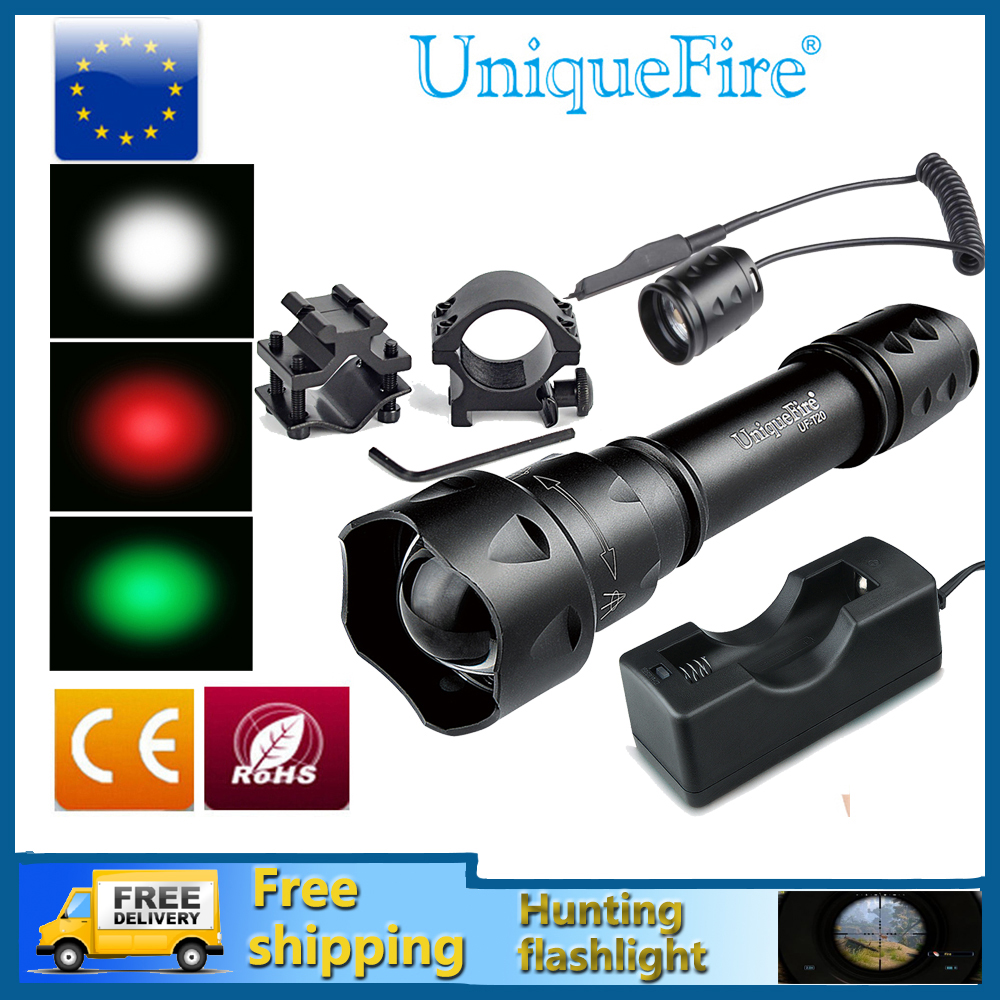 UniqueFire UF-T20-XRE Waterproof Flashlight Green/Red/White Light Zoomable 5-Modes Bicycle&amp;Camping+Rat Tail+Charger+Gun Mount<br>