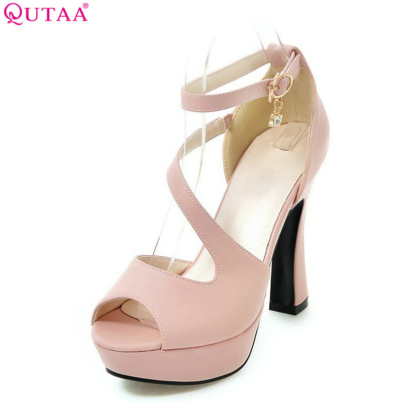 QUTAA 2018 Women Pumps Buckle Fashion Platform Square High Heel Shoes Pu Leather All Match Ladies Wedding Pumps Size 34-43<br>