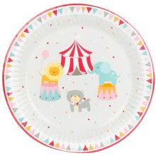 8pcs 7inch Cartoon Circus Theme Paper Plates Birthday Wedding Party Supplies Decoration Cake Dish Disposable Baby Shower Favors