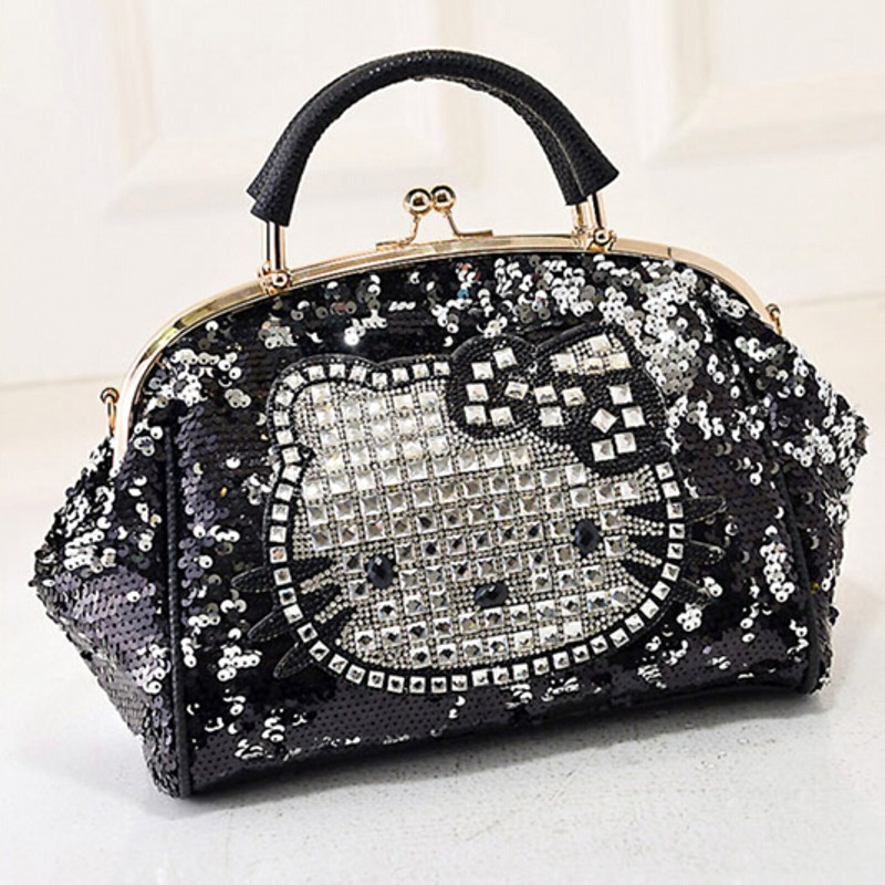 Luxury famous brand women female sequined bags leather hello kitty handbags shoulder tote bolsos mujer de marca sac de marque 40<br>