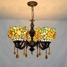 5 heads Living room dining room bedroom Crystal lamps Tiffany Stained glass Sun flower Restaurant Pendant Lights 110-240V