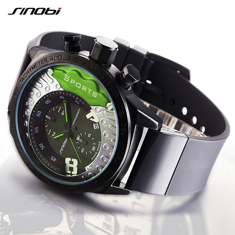 Sinobi New Chronograph Watch Male Military Wristwatches Waterproof Geneva Quartz Clock Men S Sports Relogio Masculino Racing <br>