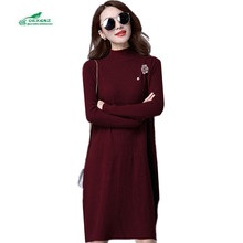 Spring Cashmere Sweater Dress New Women Large Size Casual Sweater Medium Long Solid Color Long Sleeves Knitting Dress A236OKXGNZ(China)