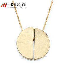 Hot-Selling Simple Design Brushing Wire Drawing Semi-circle Necklace Pendant Gold Silver Alloy Necklace Long Femme Bijoux Collar(China)