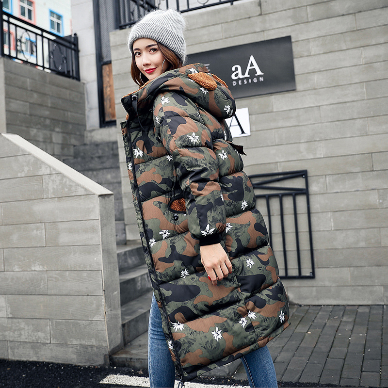 Fashion Winter Jacket Women 2017 Military Camouflage Print Parkas Lovely Bear Ear Hooded Coat Thick Warm Long Cotton Jacket DJ32