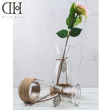 DH Pastoral style flower glass vase rope theme flower bottle home decoration tabletop Terrarium glass vase party decoration(China)