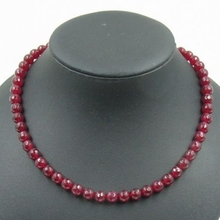 Vintage Classic Laboratory-created Natural Stone Jewelry Dreamlike Deep Red Rubies  Beaded Necklace Collier 45cm