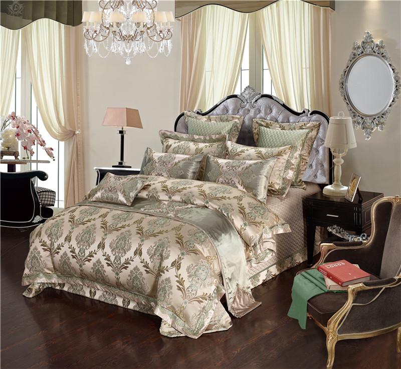Luxury Bedding Set, Silk Satin Jacquard Bedding Set, Queen, King, Duvet Cover,Bed Linen Flat Sheet Set 16