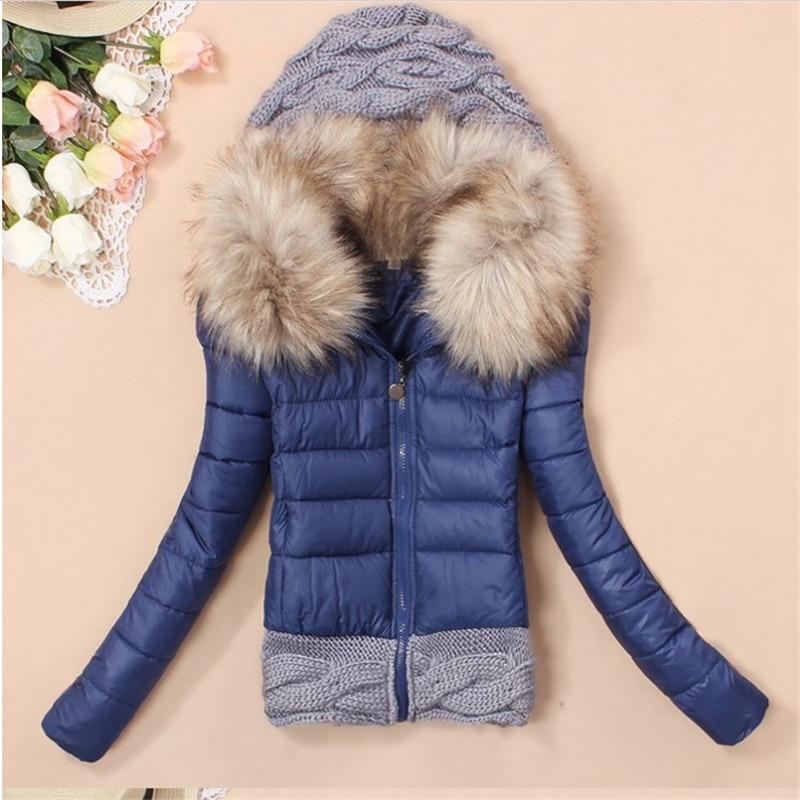 Plus Size Women Down Coat Fashion Autumn Winter Long Sleeve Women Fur Parkas Knited Patchwork Hooded Jacket Coat Manteau FemmeОдежда и ак�е��уары<br><br><br>Aliexpress