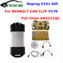 DHL Free Gold PCB Cypress AN2131QC V170 For Renault Can Clip Diagnostic Interface Full Chip Can Clip For Renault Car Code Reader
