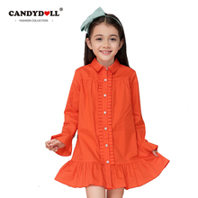 CANDYDOLL Girls Blouses Kids Cotton shirt Child Petal Sleeve Turn Down Collar long style Chothing for baby