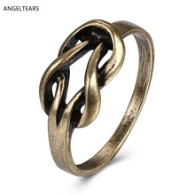 Hot sales antique bronze plated geometric finger ring vintage jewelry for women party gift good quality low price anel