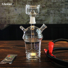 new arrival Glawaer beautiful cup shape hookahs shishas mini portable with LED for friend gifts smoking bar chicha narguile(China)