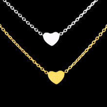 GORGEOUS TALE Tiny Heart Pendant Necklaces Women Customized Jewelry Valentines Gift Stainless Steel Gargantilha Bijoux Femme
