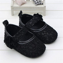2016 Fashion style cute Baby Shoes girls Walking Shoes Soft sloe flower casual princess baby Shoes black and white