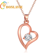 Rose Gold Color European And American Retro Palace Peach Heart Hollow White Crystal Pendant Necklace For Women NYNC66