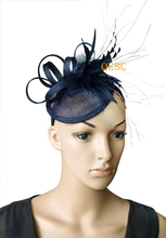 2017 NEW 20 colours Navy blue feather fascinator bridal fascinator hair accessory for Kentucky derby and wedding .FREE SHIPPING