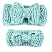 Best Goods Warm Winter Headgear Accessories Hand-woven Wool Bowknot Sweet Hair Knitted Soft Headwear Simple Thick Elastic(China)