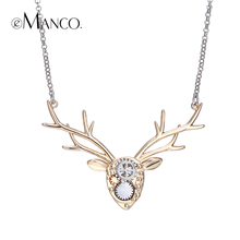 eManco brand image deer necklace copper animal choker necklaces mechanical design deer head accessories women Spring gifts