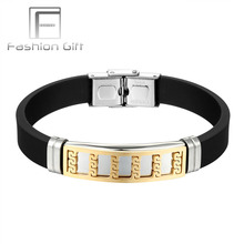 FGifter Wholesale Great Wall Design Man Silicone Bracelet Bangle Golden Stainless Steel Clasp Men Jewelry New Year Gift 811(China)