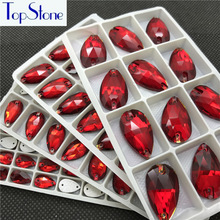 Teardrop Sew On Rhinestones Siam Red Color 7x12 11x18 13x22 17x28mm Droplet Sewing Glass Crystal Stones Dress garment making
