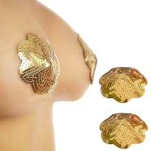 Buy 1X Pair Floral Shape Sexy Silicon Sequin Intimate Bra Nipple Cover Women Pasties Breast Petals New