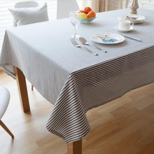 Burlap Linen Vintage Grey Blue Pink Stripe Table Cloth Cover  Home Hotel Cafe House Party Home Decoration