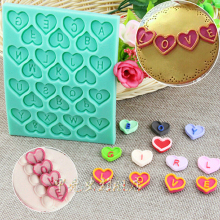 1pcs Wedding Decoration Heart Letter Silicone Mold Fondant Cake Tools Pastry Bakery Mould Kitchen gateau Patisserie reposteria