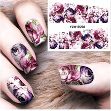 Water sticker for nails art decorations sliders purple flowers peony rose stickers adhesive nail design all decals accessoires 4(China)