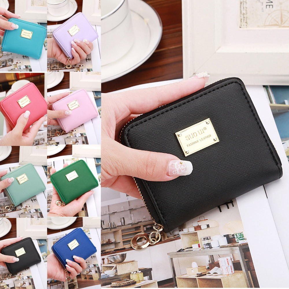 Women Ladies Leather Small Wallet Card Holder Zip Coin Purse Clutch Handbag portefeuille femme #20(China)