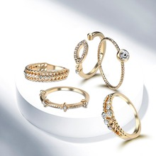 Fashion jewelry Dress up your beaut Alloy zircon ring five piece set rings for women 5 rings the same style(China)