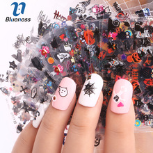 24 Sheet Halloween Design Beauty Nail Art Nails Stickers Adhesive Transfer 3D Skull Pumpkin Stickers Decals For Tips Top Quality