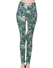 Colorful Floral Print Elastic blue green flowers leggings Women ankle Tigths leaf Pants Thin orchids printed leggings