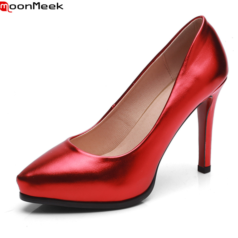 MoonMeek spring summer dress plantfoom shoes extreme high heel pointed toe shallow slip on thin heels mature pumps women shoes <br>