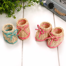 New Cute Pink Blue Straw Shoe Table Basket Dried Flowers Vase With Storage Function P30(China)