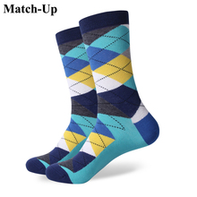 Match-Up ARGYLE SOCK men's combed cotton socks brand man dress knit socks Wedding Gifts Free shipping US size(7.5-12)(China)