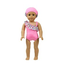 New Products Direct Factory Sale Price 18 inch American Girl Doll Pink Red Swimwear With Swimming Cap Children Best Gift AG954(China)