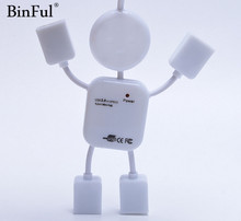 BinFul New arrival Creative Mini Humanoid usb hub Mini 4 Ports USB Hub 2.0 For Laptop PC Computer(China)