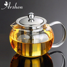 Arshen Durable 3 sizes Heat Resistant Glass Tea Pot Flower Tea Set Puer Kettle Coffee Teapot Convenient With Infuser Office Home