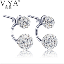 925 Sterling Silver Earring 100% Real Pure S925 Solid Silver AAA Crystal Stud Earrings for Women Jewelry Double Ball Earring E02