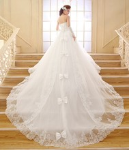Real Photo Wedding Dress 2017 Korean style Luxury Long train with Crystal Bow Designer Wedding gowns Princess vestidos de noiva