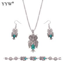 Vintage Turquoise Jewelry Sets For Women Green Turquoise Sets Cute Owl Necklace Bracelet & Earrings Women's Jewelry Gift