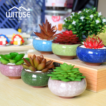 WITUSE Pot De Fleur Bonsai Pots Ceramic Planter Desk Flower Pot Terracotta Decor Glaze Home Mini Flowerpot Garden Ceramica Plant(China)