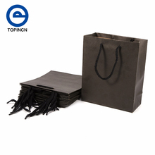 10pcs/lot Natural Black Kraft Paper Bag With Handle Wedding Party Favor Paper Gift Bags 15 x 6 x 20cm