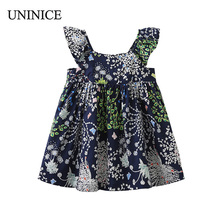 UNINICE 2018 Summer Round Neck Short Sleeve Dress Dandelion Flowers Print Flying Sleeves A-Line Dress Girls Children's Clothing(China)